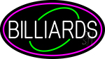 White Billiards Oval With Pink Border Neon Sign
