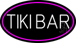 White Tiki Bar Oval With Pink Border Neon Sign