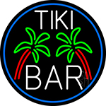 White Tiki Bar Palm Tree Oval With Blue Border Neon Sign