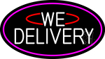 White We Deliver Oval With Pink Border Neon Sign