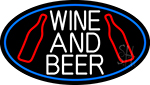 White Wine And Beer Bottle Oval With Blue Border Neon Sign
