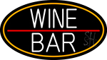 White Wine Bar Oval With Orange Border Neon Sign