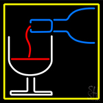 Wine Glass Bottle With Yellow Border LED Neon Sign