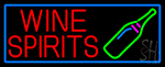 Wine Spirits With Blue Border Neon Sign