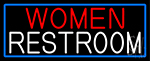 Women Restroom With Blue Border LED Neon Sign