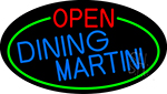 Dining Martini Open Oval With Green Border Neon Sign