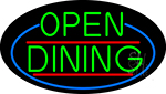 Green Open Dining Oval With Blue Border Neon Sign