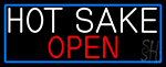 Hot Sake Open With Blue Border Neon Sign