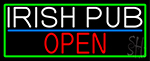 Irish Pub Open With Green Border Neon Sign
