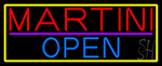 Martini Open With Yellow Border Neon Sign