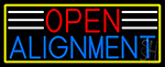 Open Alignment With Yellow Border Neon Sign