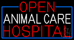 Open Animal Care Hospital With Blue Border Neon Sign