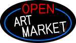 Open Art Market Oval With Blue Border Neon Sign