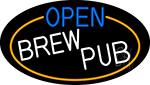 Open Brew Pub Oval With Orange Border Neon Sign