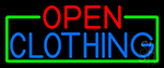 Open Clothing With Green Border LED Neon Sign