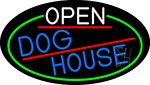 Open Dog House Oval With Green Border Neon Sign