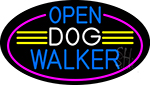 Open Dog Walker Oval With Pink Border Neon Sign