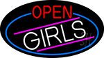 Open Girls Oval With Blue Border Neon Sign