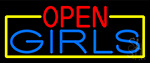 Open Girls With Yellow Border Neon Sign