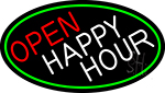 Open Happy Hour Oval With Green Border Neon Sign