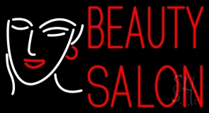 Red Beauty Salon With Girl Neon Sign
