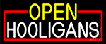 Open Hooligans With Red Border Neon Sign