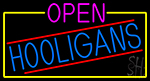 Open Hooligans With Yellow Border Neon Sign