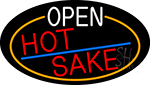 Open Hot Sake Oval With Orange Border Neon Sign