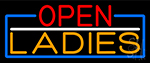 Open Ladies With Blue Border Neon Sign