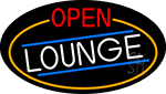 Open Lounge Oval With Orange Border Neon Sign