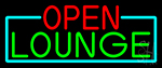 Open Lounge With Turquoise Border Neon Sign