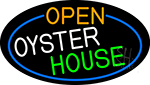 Open Oyster House Oval With Blue Border Neon Sign