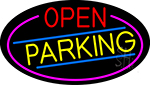 Open Parking Oval  With Pink Border LED Neon Sign