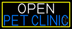 Open Pet Clinic With Yellow Border Neon Sign