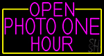 Open Photo One Hour With Yellow Border Neon Sign