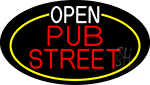 Open Pub Street Oval With Yellow Border Neon Sign