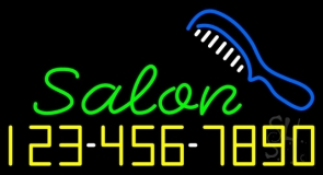 Salon With Comb And Number Neon Sign