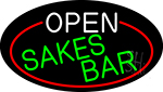Open Sakes Bar Oval With Red Border Neon Sign