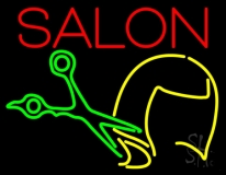 Salon With Scissor Logo Neon Sign