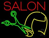 Salon With Scissor Logo Neon Sign