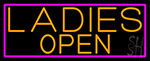 Orange Ladies Open With Pink Border Neon Sign