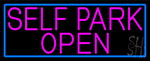 Pink Self Park Open With Blue Border LED Neon Sign