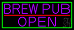 Purple Brew Pub Open With Green Border Neon Sign