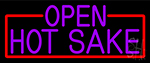 Purple Hot Sake Open With Red Border Neon Sign