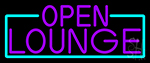 Purple Open Lounge With Turquoise Border Neon Sign