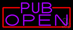 Purple Pub Open With Red Border LED Neon Sign