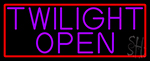 Purple Twilight Open With Red Border Neon Sign