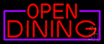 Red Open Dining With Purple Border Neon Sign
