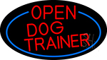 Red Open Dog Trainer Oval With Blue Border Neon Sign