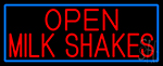 Red Open Milk Shakes With Blue Border Neon Sign